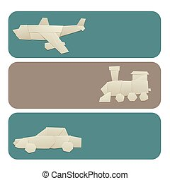 plat, blad, illustration., vrijheid, reizen, papier, vector,...