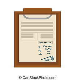 plat, blad, notepad, opmerkingen, lijst, controleren, papier, vector, tekens, of, pictogram