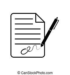plat, blad, papier, fontijn, handtekening, ontwerp, pen
