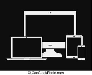 plat, blanc, électronique, appareils
