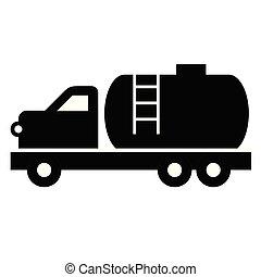 plat, blanc, camion navire-citerne, illustration
