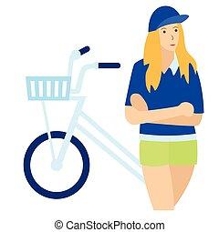 plat, blanc, femme, vélo, illustration