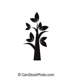plat, blanc, icône, arbre, noir