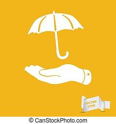 plat, blanc, icône, parapluie, main, fond jaune