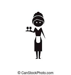plat, blanc, noir, serveuse, icône