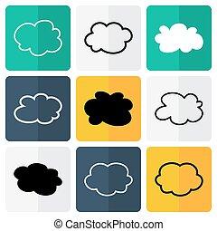 plat, blanc, nuage noir, icônes