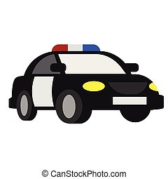 plat, blanc, police, illustration, voiture