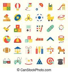 plat, blocs jouet, balloon, cheval, ensemble, tel, balancer, 2/3, balle, enfants, icône