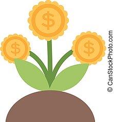 plat, bloem, iconen, geld, concept., het teken van de...