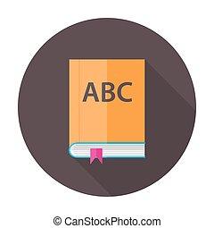 plat, boek, engelse , les, cirkel, pictogram