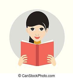 plat, book., vector, icon., lezende , meisje