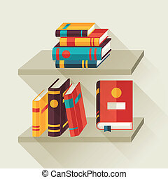 plat, bookshelves, boekjes , ontwerp, style., kaart