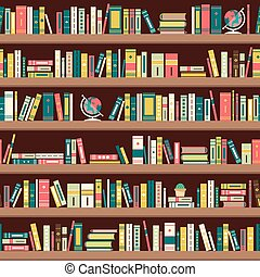 plat, bookshelves, ontwerp, bibliotheek