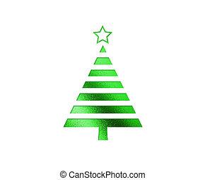 plat, boompje, vrijstaand, groene, kerstmis, pictogram