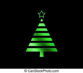 plat, boompje, vrijstaand, groene, schitteren, kerstmis, pictogram