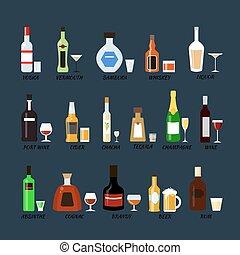 plat, bouteilles, alcool, icônes, collection, vecteur, style., illustration.
