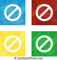 plat, bouton, polygonal, bas, interdiction, blanc, triagonal, icône