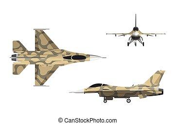 plat, bovenkant, schaaf, style., vliegtuig, bovenzijde, voorkant, militair, oorlog, aanzicht