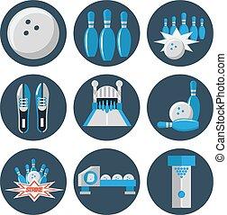 plat, bowling, ensemble, icône