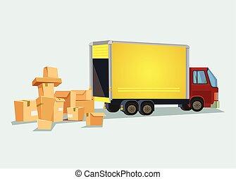 plat, box., beaucoup, illustration, livraison, vecteur, camion, dessin animé