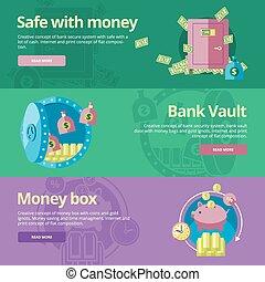 plat, box., sûr, argent, argent, conception, banque, concepts, voûte