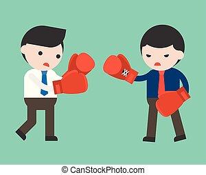 plat, boxe, deux, combat, conception, homme affaires, gants