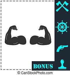 plat, bras, musculaire, icône