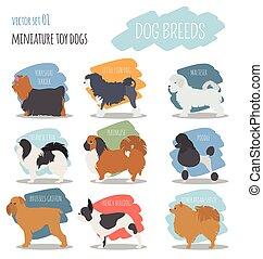 plat, breeds., chien jouet, miniature, ensemble, icon., style