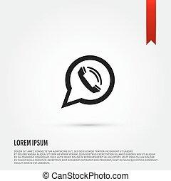 plat, bubble., de, appeler, téléphone, parole, icon., icône