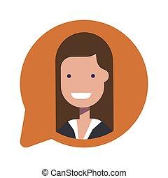 plat, bubble., femme affaires, isolé, illustration, arrière-plan., vecteur, parole, avatar, social, manager., blanc, ou, icône