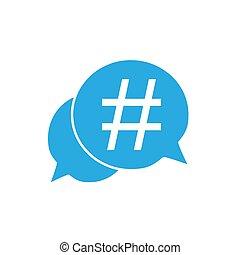 plat, bubble., illustratie, vector, toespraak, hashtag, pictogram, design.