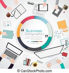 plat, bureau affaires, infographic., illustration, créatif,...