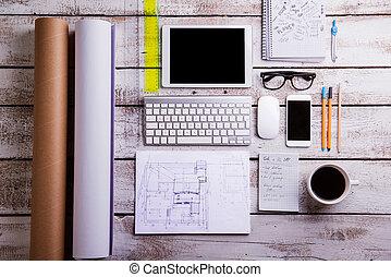 plat, bureau, arrière-plan., bois, gadgets, lay., bureau, supplies.