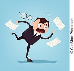 plat, bureau, business, character., ouvrier, illustration, triste, mauvais, vecteur, infructueux, tomber, luck., dessin animé, homme