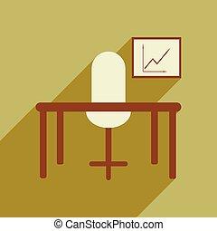 plat, bureau, diagramme, bureau, ombre, chaise, icône