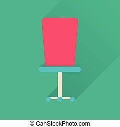 plat, bureau, long, ombre, chaise, icône