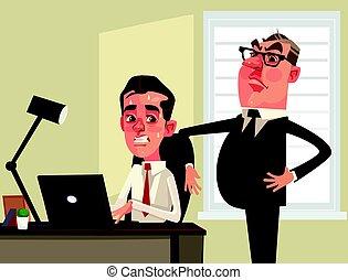 plat, bureau, regarder, effrayé, character., ouvrier,...