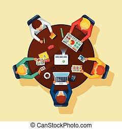 plat, business, affiche, sommet, réunion, vue