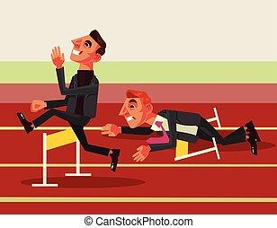 plat, business, competition., illustration, vecteur, dessin animé