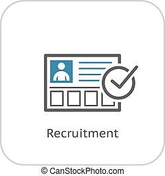 plat, business, concept., recrutement, icon., design.