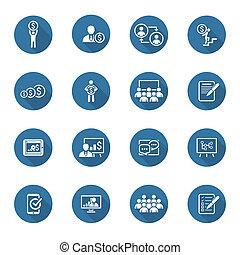 plat, business, set., entraînement, ligne, icône, learning...