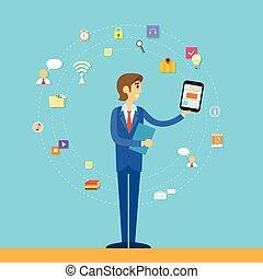 plat, business, tablette, informatique, conception, icône, homme