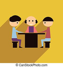 plat, business, toile, long, ombre, négociations, icône