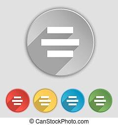 plat, buttons., centrum, symbool, vector, vijf, teken.,...