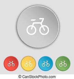 plat, buttons., fiets, teken., vector, vijf, symbool, pictogram