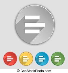 plat, buttons., left-aligned, teken., vector, vijf, symbool,...