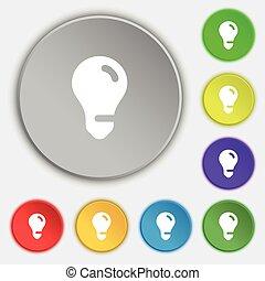 plat, buttons., licht, symbool, idee, vector, vijf, teken., bol, pictogram