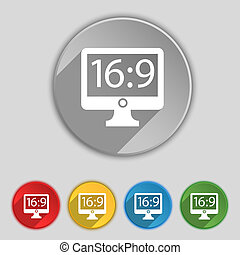 plat, buttons., proportion, 16, tv, signe., widescreen, cinq, aspect, 9, symbole, icône