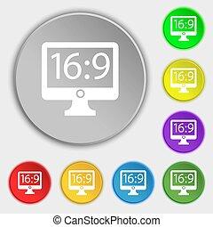 plat, buttons., proportion, 16, tv, signe., widescreen, symboles, huit, aspect, 9, icône
