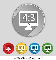 plat, buttons., proportion, tv, signe., widescreen, 3, cinq, 4, aspect, symbole, icône